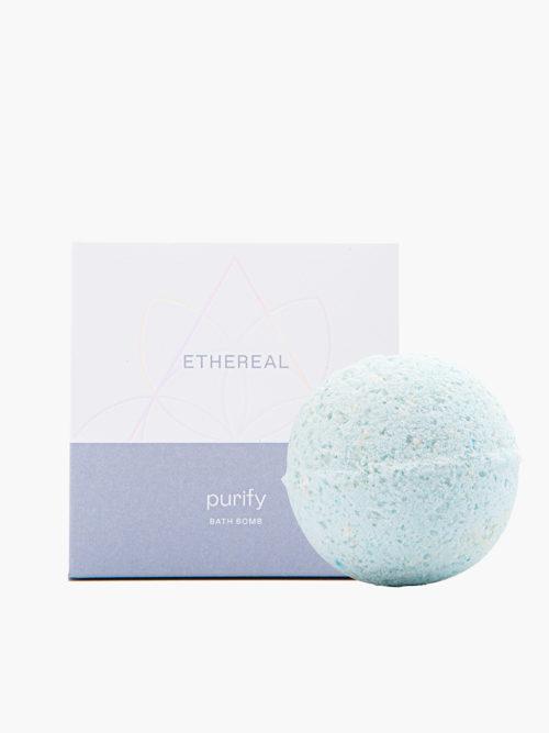 Bathbomb Purify με άρωμα white musk για καθαριοτητα και περιποιηση σωματος και ποδιων με υπεροχο αρωμα, ελληνικο χειροποιητο με φυσικα υλικα με το κουτί του