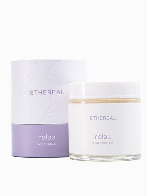 Κρεμα ποδιων/ακρων Relax μακρινη ληψη στον αερα, δερμοκαλλυντικο ελληνικο χειροποιητο dermocosmetics με άρωμα λεβάντα γιασεμί με το κουτί της