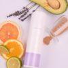 Scrub Relax σε σύνθεση με φρούτα και κόκκο ελιάς από πάνω