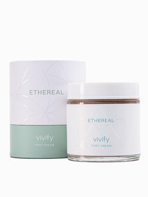 Κρεμα ποδιων/ακρων Vivify με άρωμα καρύδα μακρινη ληψη στον αερα, δερμοκαλλυντικο ελληνικο χειροποιητο dermocosmetics με το κουτί της